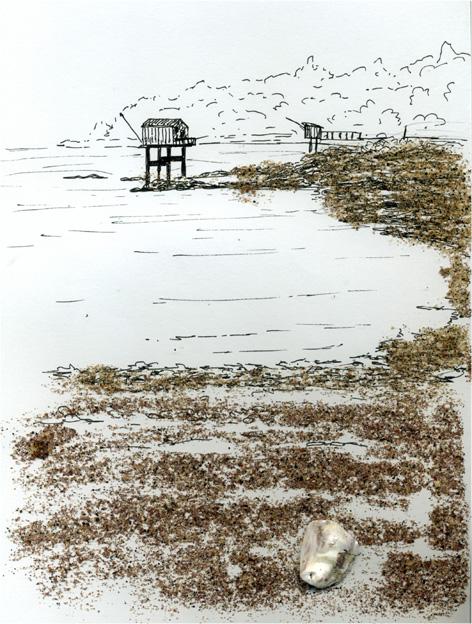 Pêcherie avec sable collé